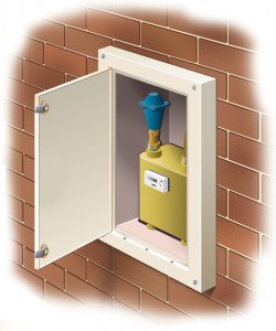 Externally fitted gas electric meter overbox